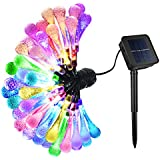 OMorc 50 LED Water Drop Solar Outdoor String Light, 20foot Colorful Fairy Light, Raindrop Starry Light, Waterproof...