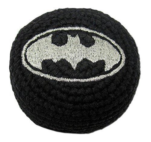 Super Hero Embroidered Hacky Sack Footbag FB44 - Metallic Batman Logo - 1