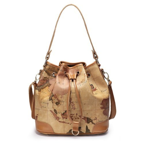 Tourist World Map Series Women'S Leather Shoulder Handbag Bucket Bag Satchel
