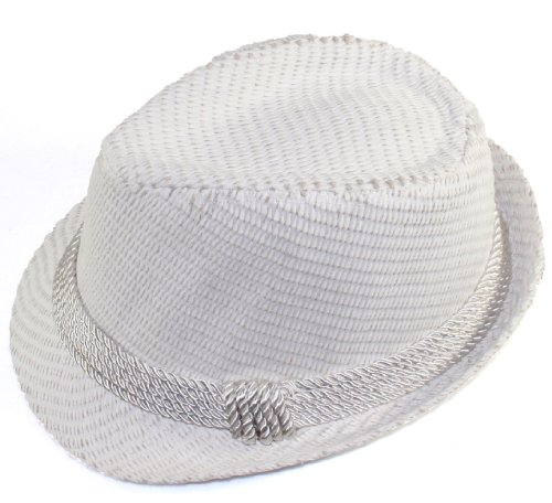 City Hunter Pms150 Paper Solid with Rope Band Straw Fedora White (L/xl Size)