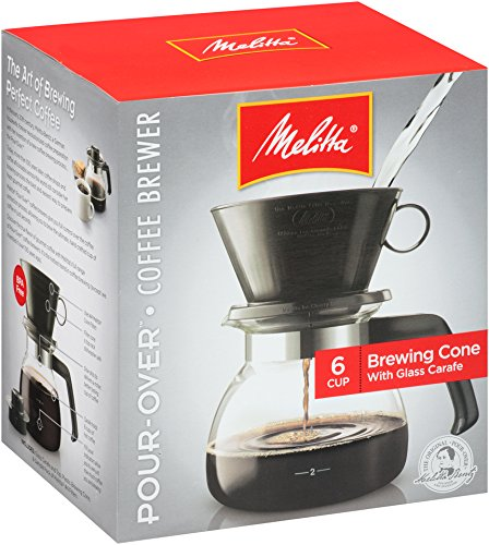 Melitta Coffee Maker, 6 Cup Pour-Over Brewer with Glass Carafe, 1-Count (Brewers Coffee compare prices)