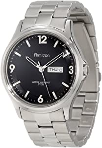 Armitron Men's 20/4847BKSV Stainless Steel Silver-Tone Black Dial Bracelet Watch