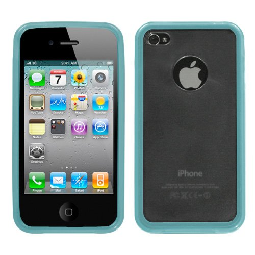 Soft Skin Case Fits Apple Iphone 4 4S Transparent Clear / Semi Transparent Baby Blue Gummy + Lcd Screen Protective Film + Stylus/Pen At&T (Does Not Fit Apple Iphone Or Iphone 3G/3Gs Or Iphone 5/5S/5C) front-1030464