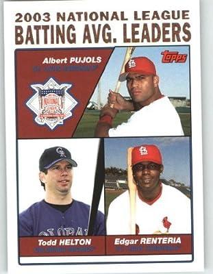 2004 Topps Baseball Card # 343 Albert Pujols - Todd Helton - Edgar Renteria LL (National League Batting Leaders) Cardinals - Rockies - Giants - MLB Trading Card