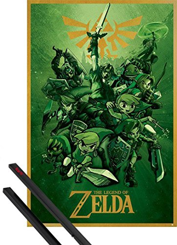 Poster + Sospensione : The Legend Of Zelda Poster Stampa (91x61 cm) Link Si Batte e Coppia di barre porta poster nere 1art1®