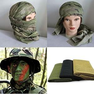 HuaYang Filet de pêche de camouflage tactique, sniper couvrir la tête voile visage? maillage? foulard écharpe(Random Como)