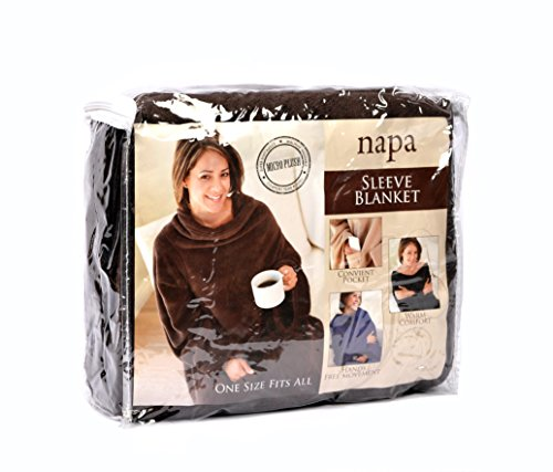 deluxe fleece blanket with sleeves and pockets super soft microplush home adults wearable throw. Black Bedroom Furniture Sets. Home Design Ideas