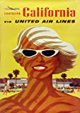 Vintage SO CAL Travel Poster United Airlines Reproduction A3 Poster / Print 260GSM Photo Paper