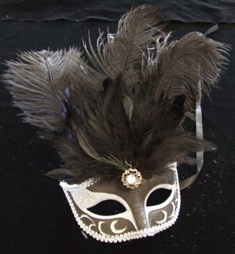 Showgirl Hot Black & Silver Halloween Mardi Gras Costume Masquerade Prom Party