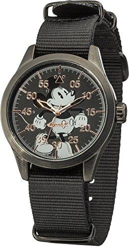 Disney Ingersoll Women's Quartz Watch with Black Dial Analogue Display and Black Nylon Strap DIN008BKBK