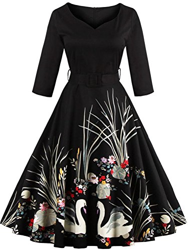 Short Vintage Wedding Guest Dresses for Women Special Occasion, Black,S