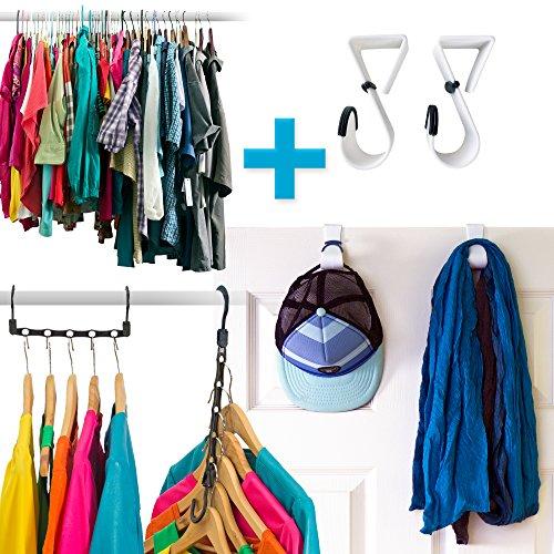 Amazing Space Saving Hangers Closet Organizer (10 Pack) PLUS A Set Of 2 Hooks Over The Door Hanger Rack - Organise Bedroom, Bathroom, Closets - Hang Shirts, Coats, Towels, Robes, Hats (Space Saving Bamboo Organizer compare prices)