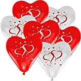 50x Herzballons 'mit Herzen' rot/weiß Ø30cm + PORTOFREI mgl. + Helium & Ballongas geeignet. High Quality Premium Ballons vom Luftballonprofi & deutschen Heliumballon Experten.