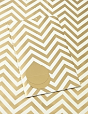 2 Gold & Cream Chevron Sheet Wrapping Papers