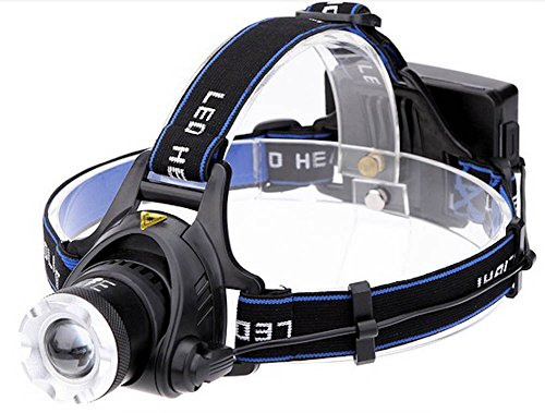 Xm-L T6 Led Headlamp Rechargeable 1000Lm Zoomable Headlight Head Lamp + Ac Charger For Outdoor Camping