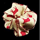 Offray Reindeers Jute Burlap Holiday Wired Edge Ribbon, 2 1/2
