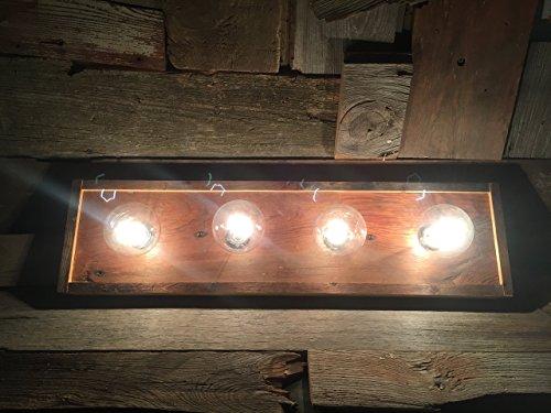 4 Bulb rustic barn wood bathroom vanity bar light