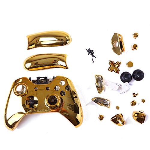 HDE Xbox One Controller Gold Chrome Custom Case Wireless Gaming Replacement Cover Kit (Custom Controller Covers compare prices)
