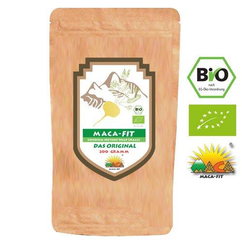 Maca Fit Pulver 200g BIO das Original [Vitamine, Aminosäuren, Proteine u.v.m] Vegan, Organic, Gluten Frei, Speziell für Allergiker, Superfood aus Peru, ideal für Smoothie
