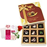Delicious Admire Of Assorted Chocolates With Love Card And Rose - Chocholik Luxury Chocolates