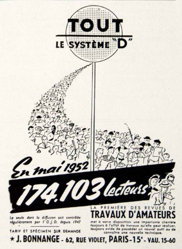 1953 Ad Bonnange 62 Rue Violet Paris Tout Systeme D French Publication Readers - Original Print Ad