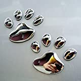 金属肉球 シルバー カッティングステッカー ウォールステッカー ステッカー シール 可愛い爪