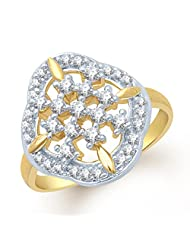 Meenaz Delightful Gold And Rhodium Plated Cz Ring FR113 For Women