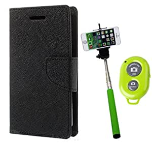 Aart Fancy Diary Card Wallet Flip Case Back Cover For Apple I phone 4 -(Black) + Remote Aux Wired Fashionable Selfie Stick Compatible for all Mobiles Phones By Aart Store