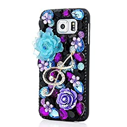 Samsung Galaxy S6 Case, Sense-TE Luxurious Crystal 3D Handmade Sparkle Glitter Diamond Rhinestone Ultra-Thin Clear Cover with Retro Bowknot Anti Dust Plug - Music Flowers / Purple