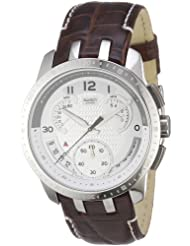 Swatch Men's CORE COLLECTION YRS403 Brown Leather Quartz Watch with Silver Dial