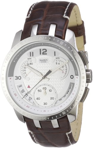 Swatch Mens Cold Hour Silver Dial Brown Leather Strap Watch