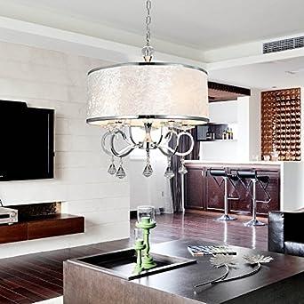 ᗔMK OOFAY LIGHT® Einfache Und Graziöse 6  Stücke Stofftuch Kristall Hängelampe Moderne Kristall Stofftuch Hängelampe Für  Wohnzimmer Stilvolle ...