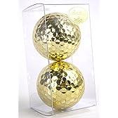 【 ギフト 】 おもしろ 金色 ゴルフボール 金球 ゴールデンボール / 金シール付 (02: 2個)