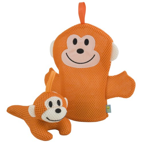 Rich Frog Wacky Wash Mitt and Bath Sponge Combo - Monkey