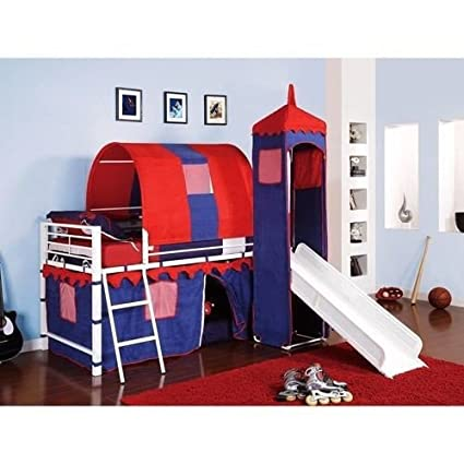 Castle Tent Twin Loft Bed Slide Playhouse w/ Under Bed Storage Red White & Blue. Top of the Slide Is Tented with a Tower with Peek Through, Fold Down Window Covers. Fun Bunk Bed w/ Slide & Covered Hiding Place Below. The Covered Hiding Place Below