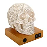 Summit Collection Floral Skull Home Decor LED Lamp with Two USB Charging Ports, White,  (Color: White)