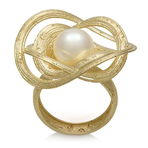 14K Yellow Gold 9.0-9.5Mm Freshwater Cultured Pearl Geometrical Flower Ring