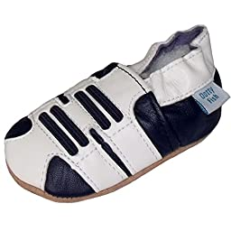 Dotty Fish Baby Boys Soft Leather Shoe with Suede Soles Navy White Trainer 0-6 Months to 3-4 Years