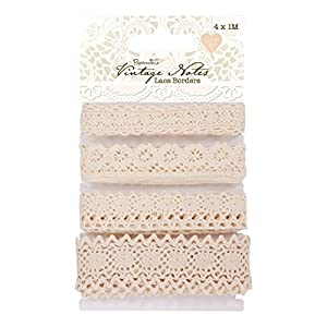 Docrafts 1 m Lace Borders, Vintage Notes (Pack of 4)