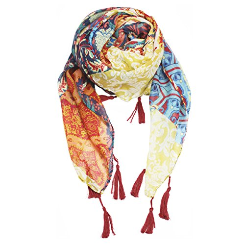 Mose-Fashion-Pop-Style-Bali-Yarn-Tassel-Print-Spring-Scarves-Yellow-And-Green-Color