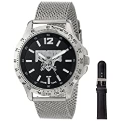 Game Time Mens MLB-CAG-PIT Cage MLB Series Pittsburgh Pirates 3-Hand Analog Watch by Game Time