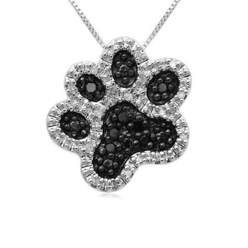 Sterling Silver Black and White Diamond Dog Paw Pendant Necklace (1/10 cttw, I-J Color, I3 Clarity), 18
