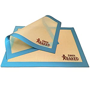 Über Baked Non-Stick Silicone Baking Mat Set - 2 Baking Mats for Half Size Baking Sheet.