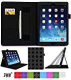 [Luxurious Protection] iPad Air Pattern Case Cover, FYY® Premium Leather Case Stand Cover with Card Slots, Pocket, Elastic Hand Strap and Stylus Holder for iPad Air Black Pattern (With Auto Wake/Sleep Feature)