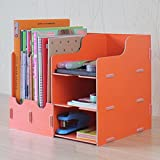 KF255 DIY Simple Wooden Desktop Sorter Stationary Office Supplies Desk Drawer Removable Dividers Portable Cosmetics Jewellery Storage Organizer with Multi Compartments (Orange)
