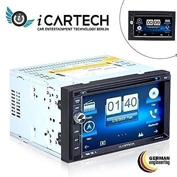 iCar-Tech Aurora 2 Autoradio pour Volkswagen T5 avec système de navigation ultra rapide, Processeur Cortex A9 1.2 GHz, commande au volant transférable, micro externe indépendant, GPS + TMC avec cartes d'Europe, répertoire t&eac