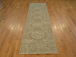3 x 11 TAUPE PESHAWAR RUNNER HAND KNOTTED ORIENTAL RUG G18018