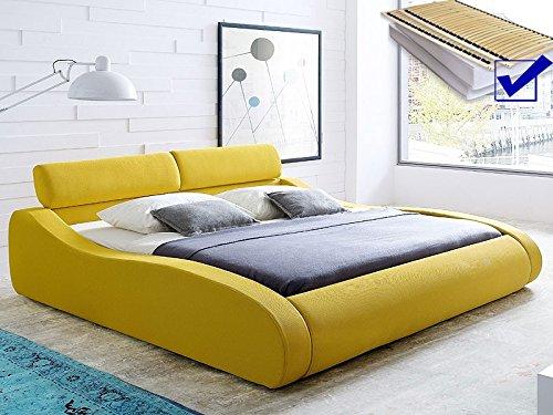 Polsterbett safrangelb Bett 180×200 Bett komplett + Matratze + Lattenrost Singelbett Designerbett Artura günstig