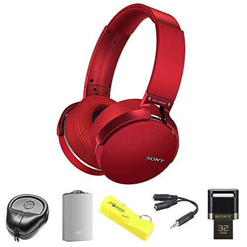 Sony XB950BT Extra Bass Bluetooth Headphones - Red (MDRXB950BT/R B)with HardBody Sized Headphone Case, A3 Port. Headphone Amplifier, 2600mAh Port. Keychain Power Bank, Splitter & 32GB Flash Drive