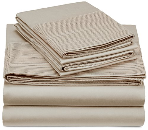 Pinzon 400-Thread-Count Pleated Hem Egyptian Cotton Sheet Set - Queen, Parchment (Queen Size Egyptian Cotton Sheets compare prices)